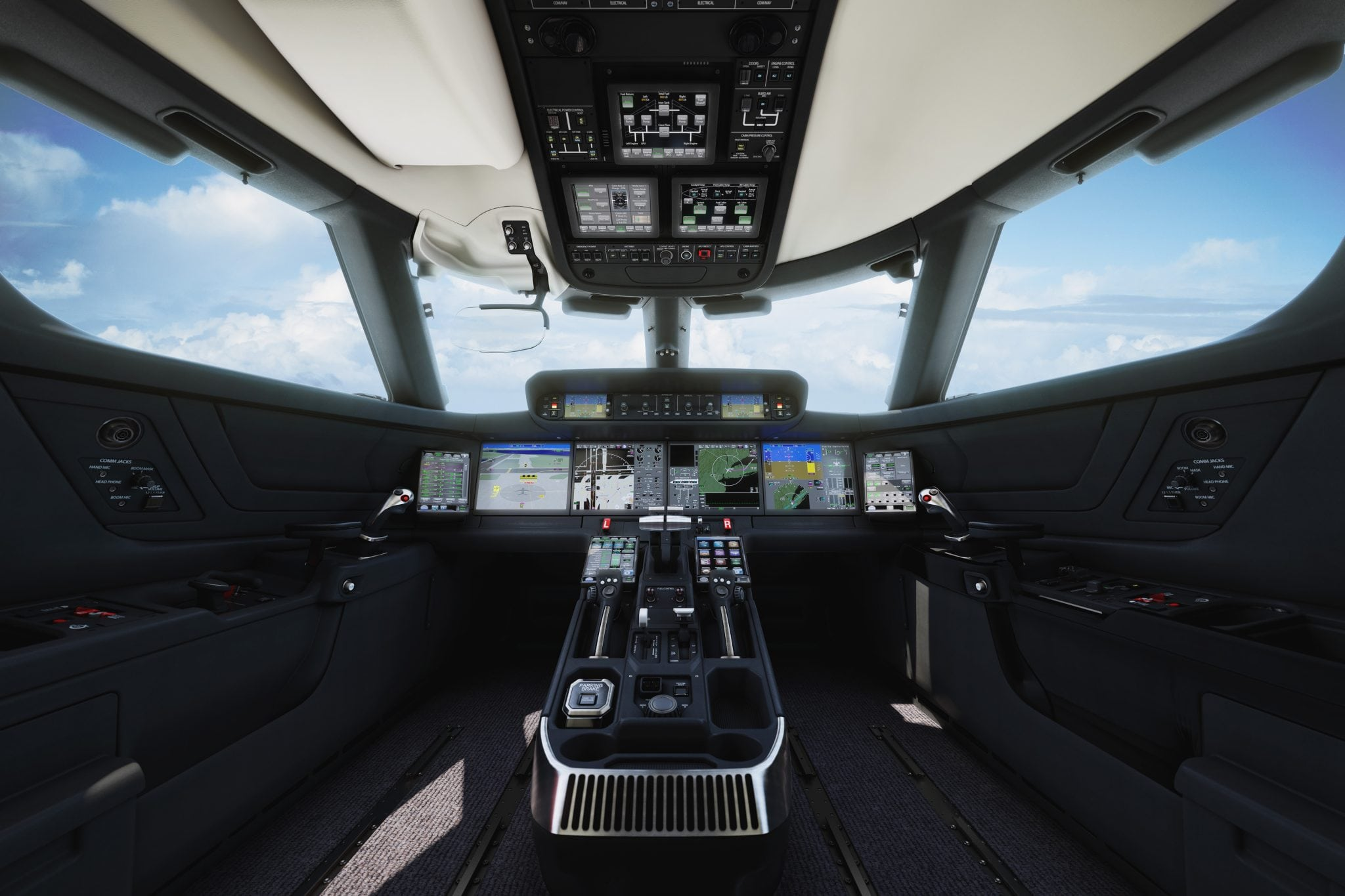 Flight deck of Gulfstream G500 equipped with Honeywell SmartView SVS and touchscreen technologies, among others