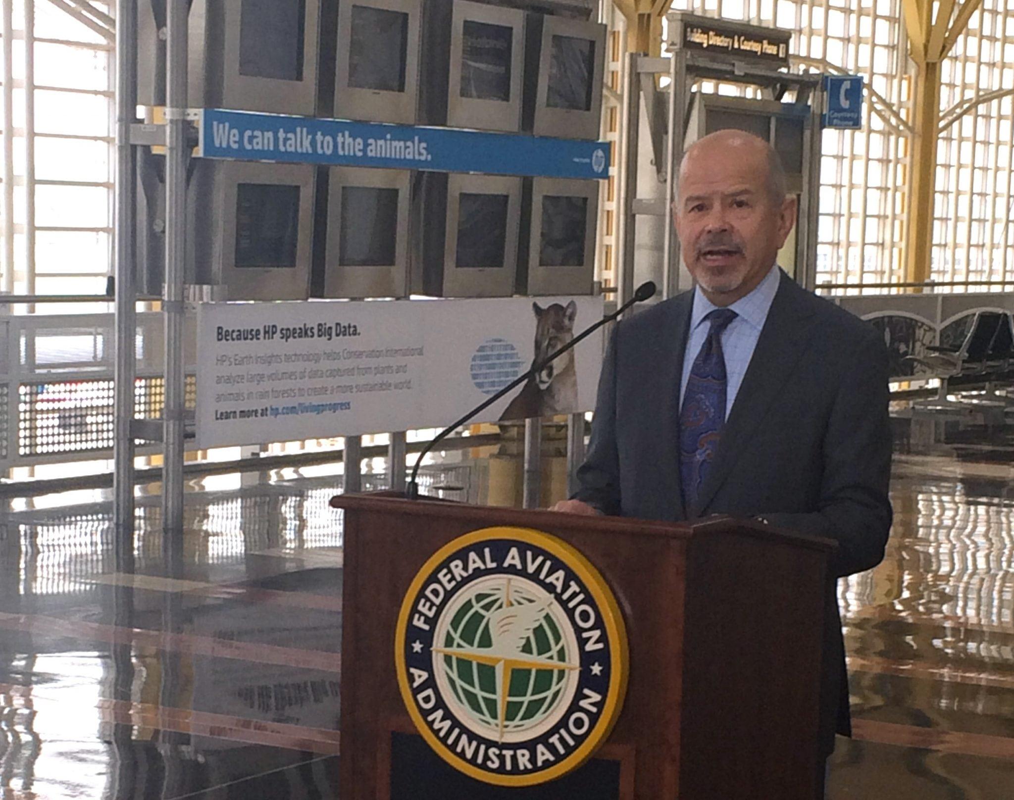 FAA Administrator Michael Huerta at Reagan National Airport on Thursday