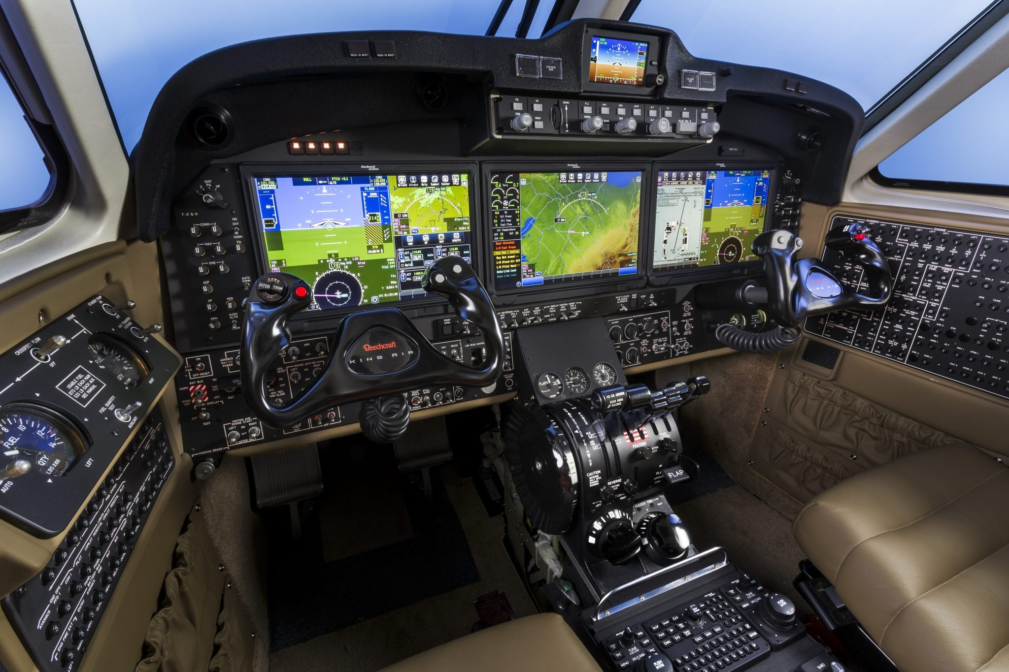 King Air cockpit with Rockwell Collins Pro Line Fusion avionics. Photo: Textron