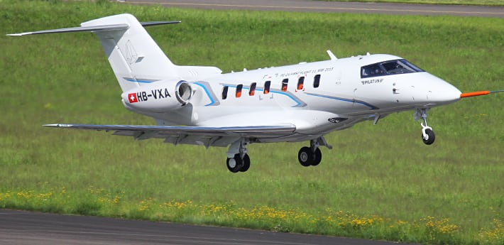 Pilatus PC-24 test aircraft during its maiden flight