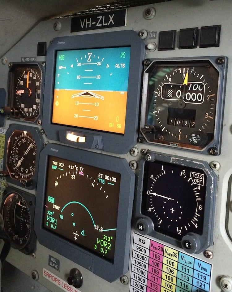 Thomas Global Systems' TFD-8601 LCD avionics display on board a Rex aircraft