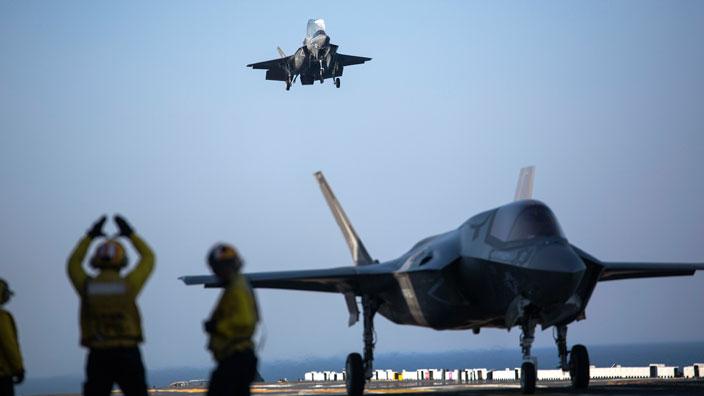 F-35B landing aboard the USS WASP