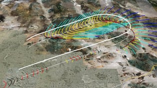 NASA's initial depiction of sonic boom footprint integrated with real-time, local-area moving map