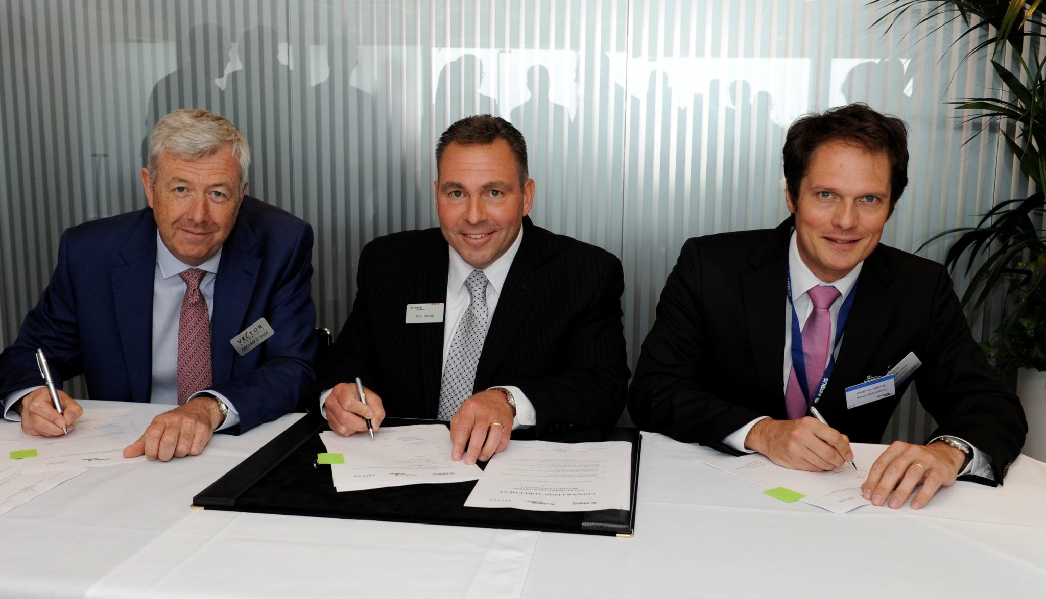 Representatives from Rockwell Collins, Vector and Airbus sign agreement to develop Pro Line Fusion avionics for Airbus Helicopter platforms