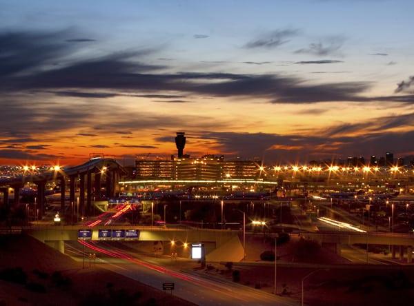 Exterior view of Phoenix Sky Harbor International Airport.