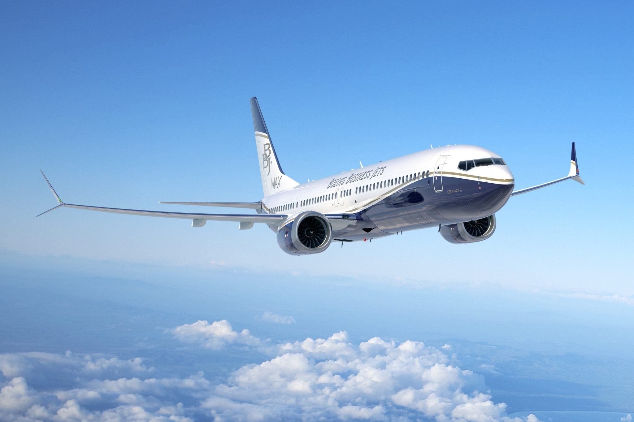 Boeing Business Jet Max 9 in flight