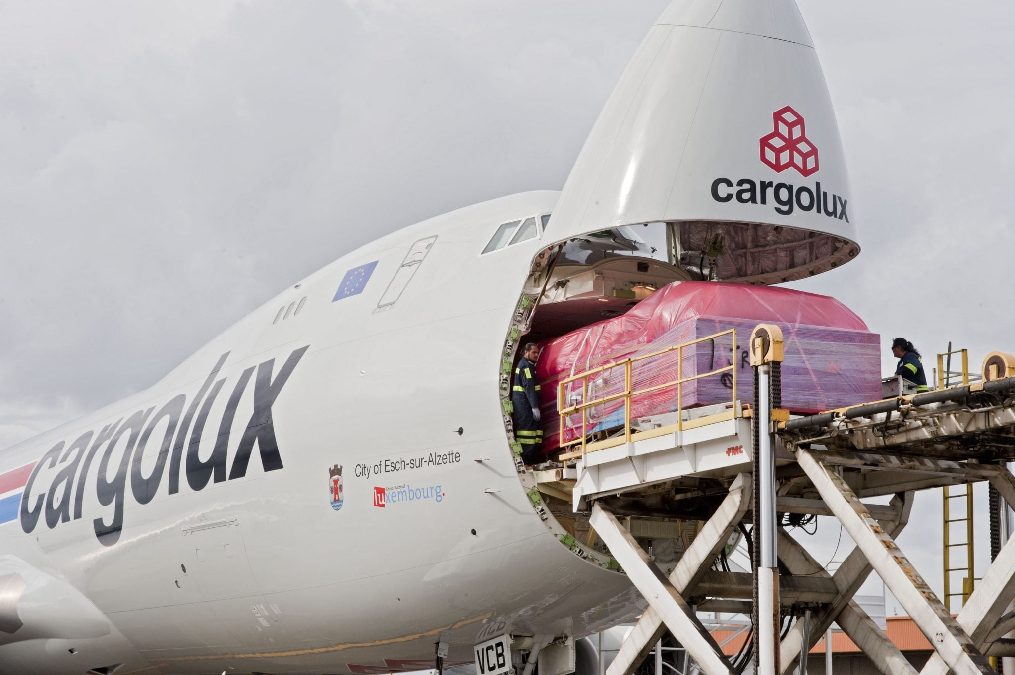 Boeing 747-8 aircraft being loaded with cargo