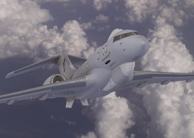 An artist's concept of the JSTARS Recap business jet platform proposed by the Lockheed Martin-led team with Raytheon and Bombardier