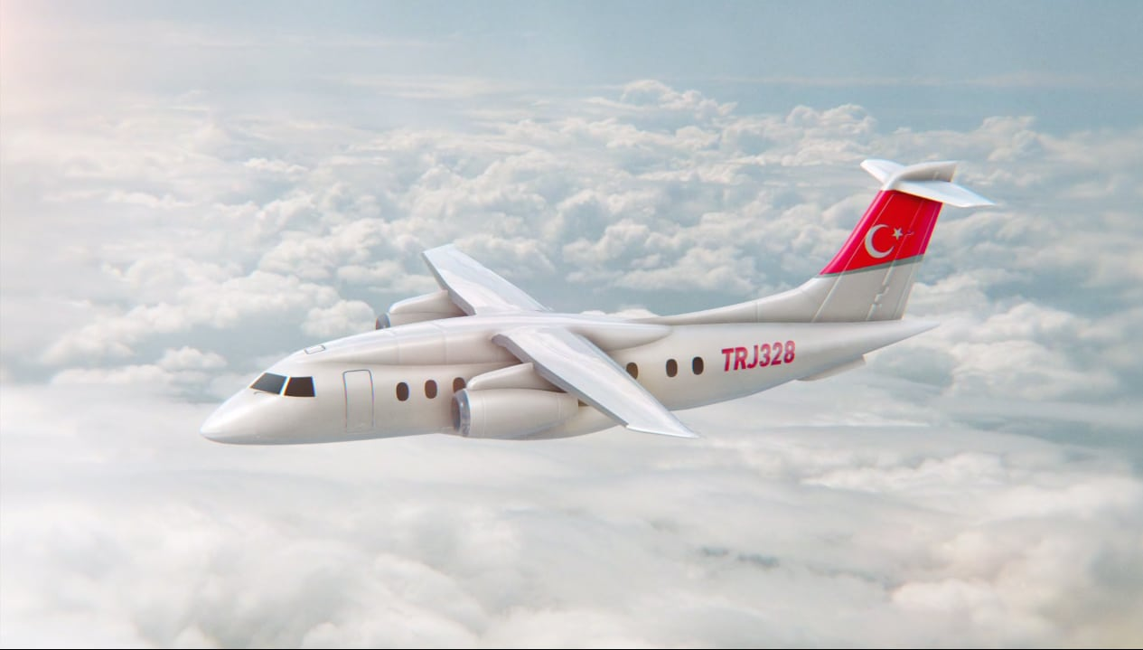 Rendering of the new Turkish TRJ328 regional jet