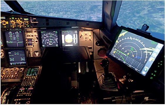 EFB Weather is shown on the cockpit-connected EFB (right side)