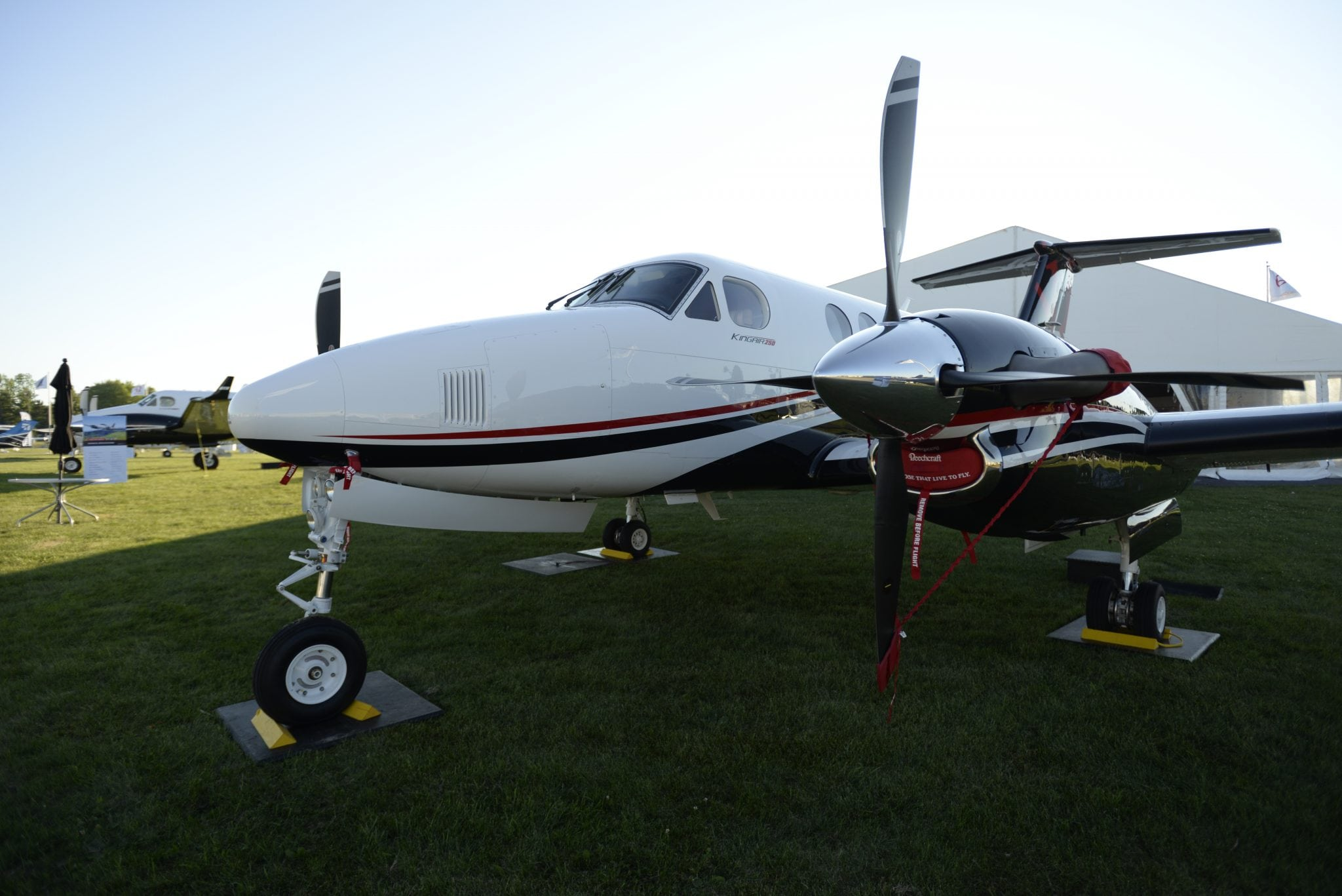Beechcraft King Air 250 at the Experimental Aircraft Association AirVenture in Oshkosh where it is making its North American debut