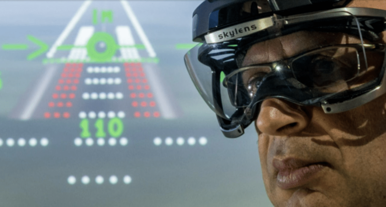 Pilot wearing Skylens wearable HUD