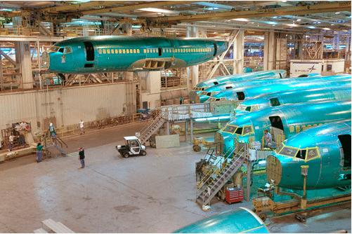 Spirit Aerosystems Boeing 737 airframes in a facility
