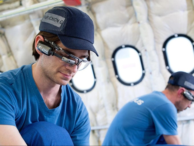 Airbus technician uses smart glasses on A330 final assembly line