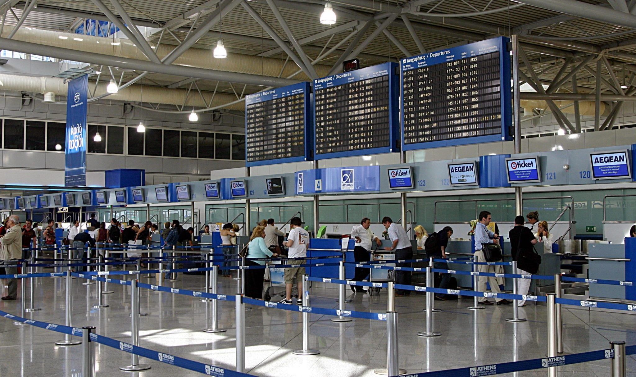 Check-in desks at Athens airport in Greece