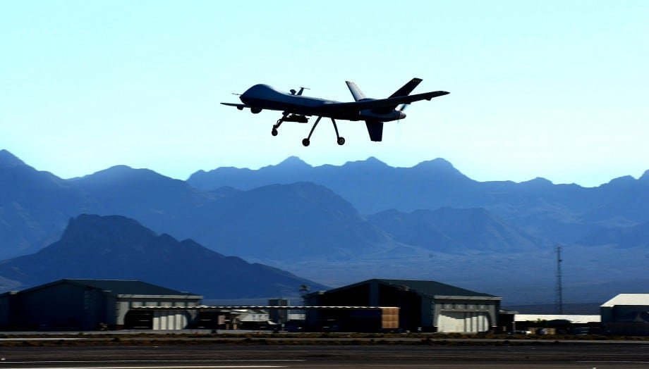 """A US Air Force """"Reaper"""" drone takes off at Creech Air Force base in June 2014"""