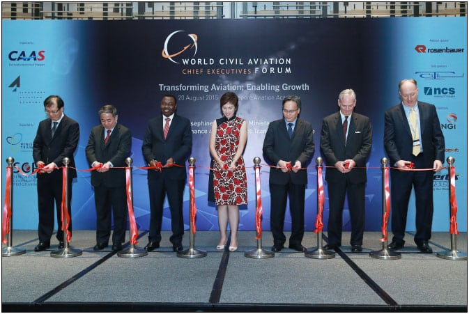 Officials from CAAS, NTU, ICAO, Mitre and the Singapore Ministry of Transport inaugurate the new facilities