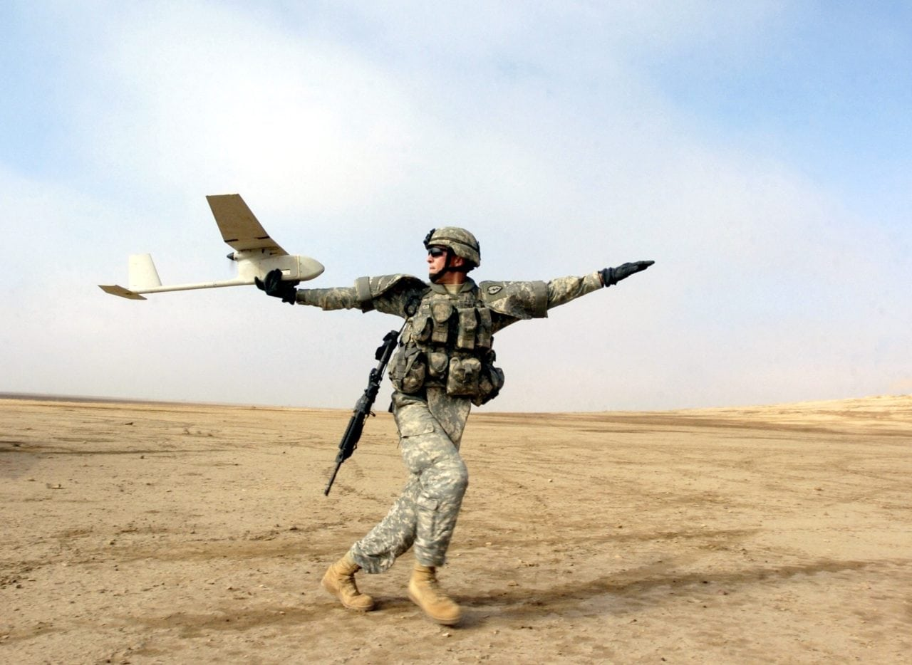 Member of the US Army launching the Raven RQ-11 UAS