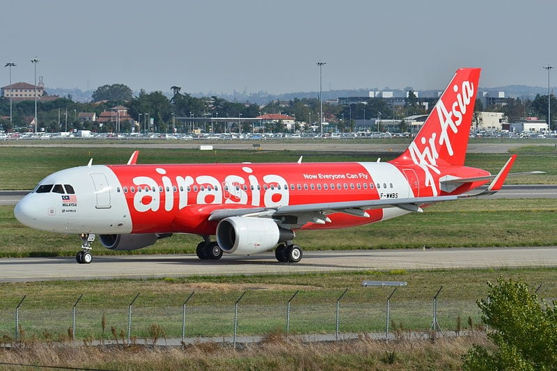 AirAsia Airbus A320 at Toulouse-Blagnac Airport (LFBO) in France.
