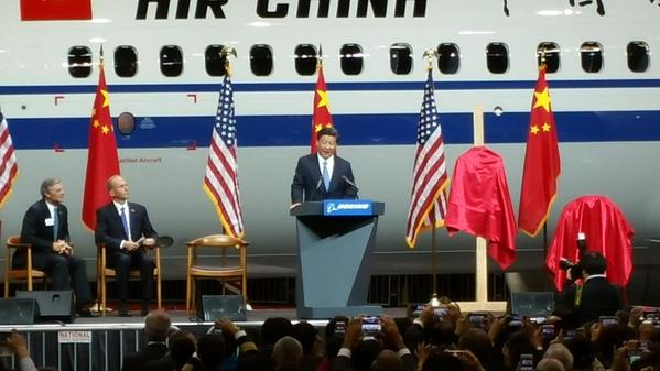 China President Xi Jinping speaks at Boeing's Everett, Wash. factory