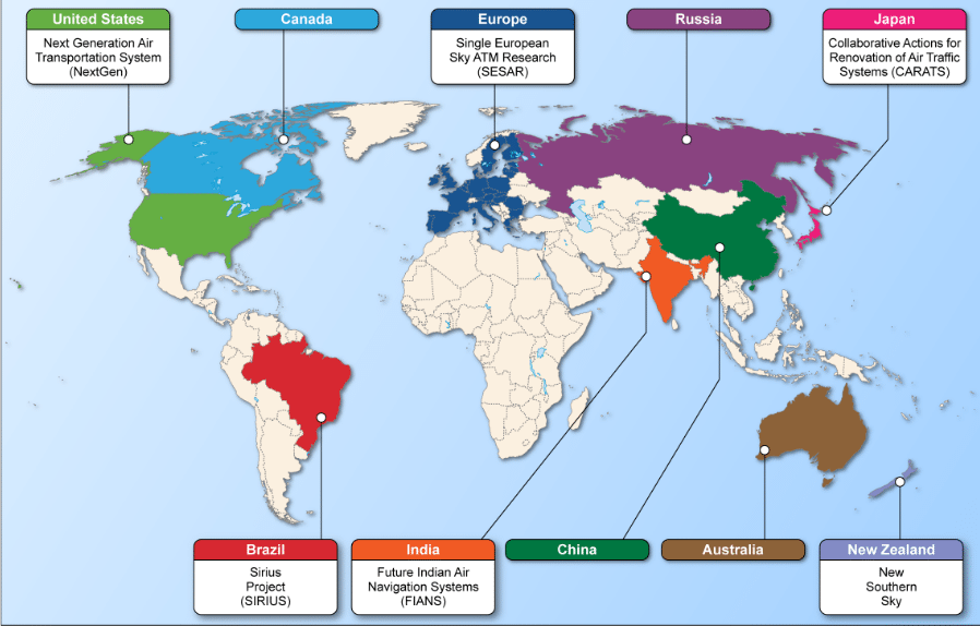 Coverage Map of the ATM Modernization programs across the globe. Photo: GAO