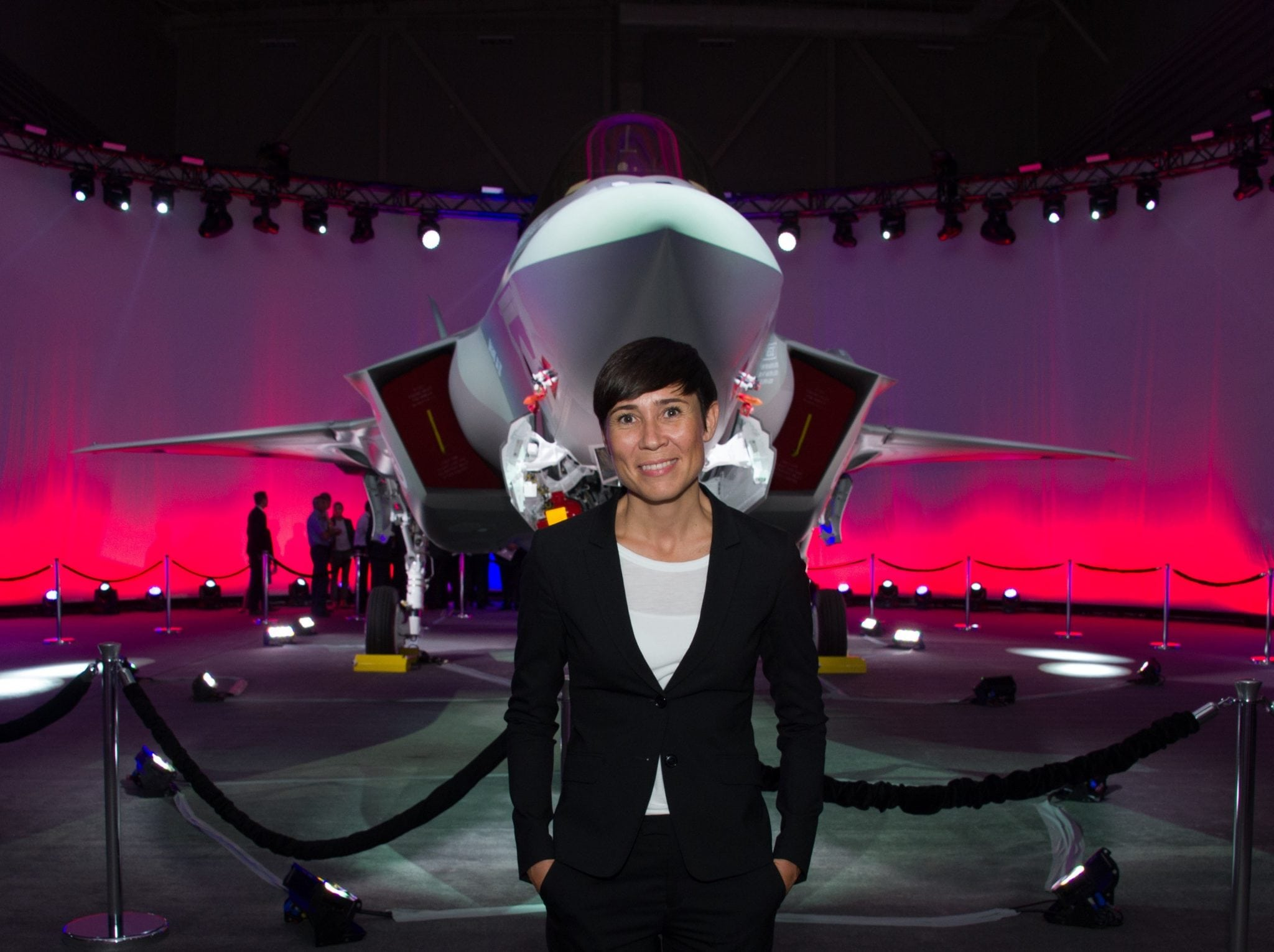 Norwegian Minister of Defence, Ine Eriksen Søreide, with the Norwegian Armed Force's first F-35A Lightning II, known as AM-1, at the Lockheed Martin F-35 production facility in Fort Worth, Texas