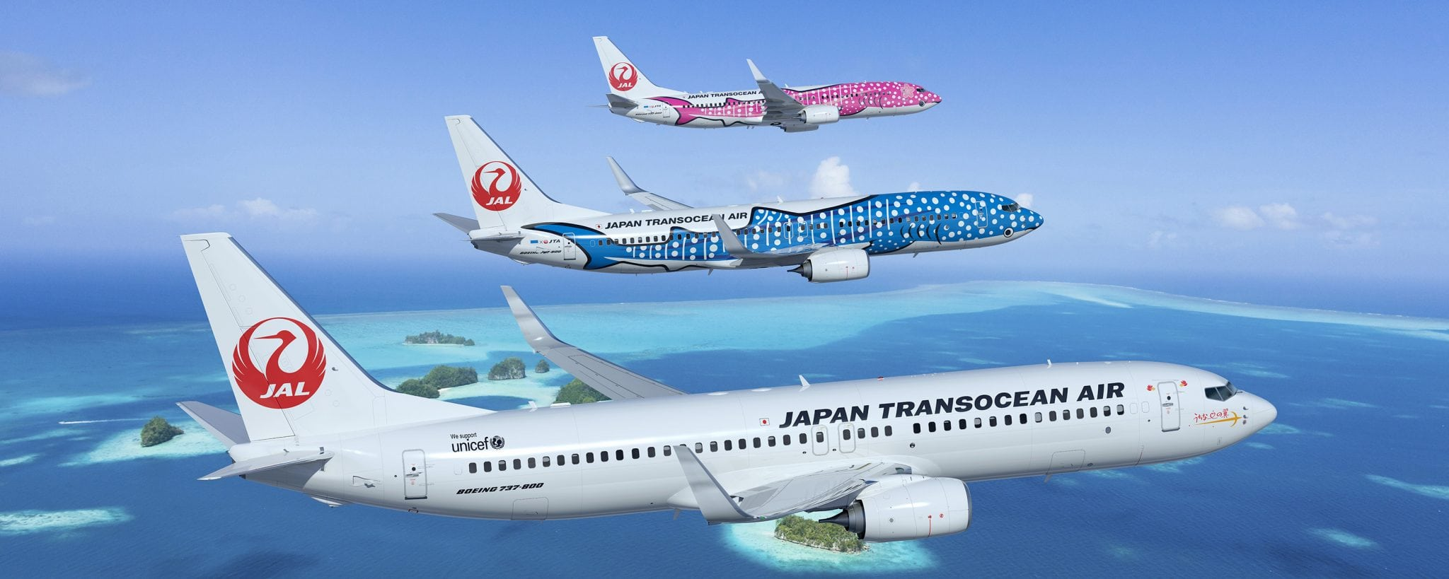 Three 737-800s in Japan Transocean Air's livery.
