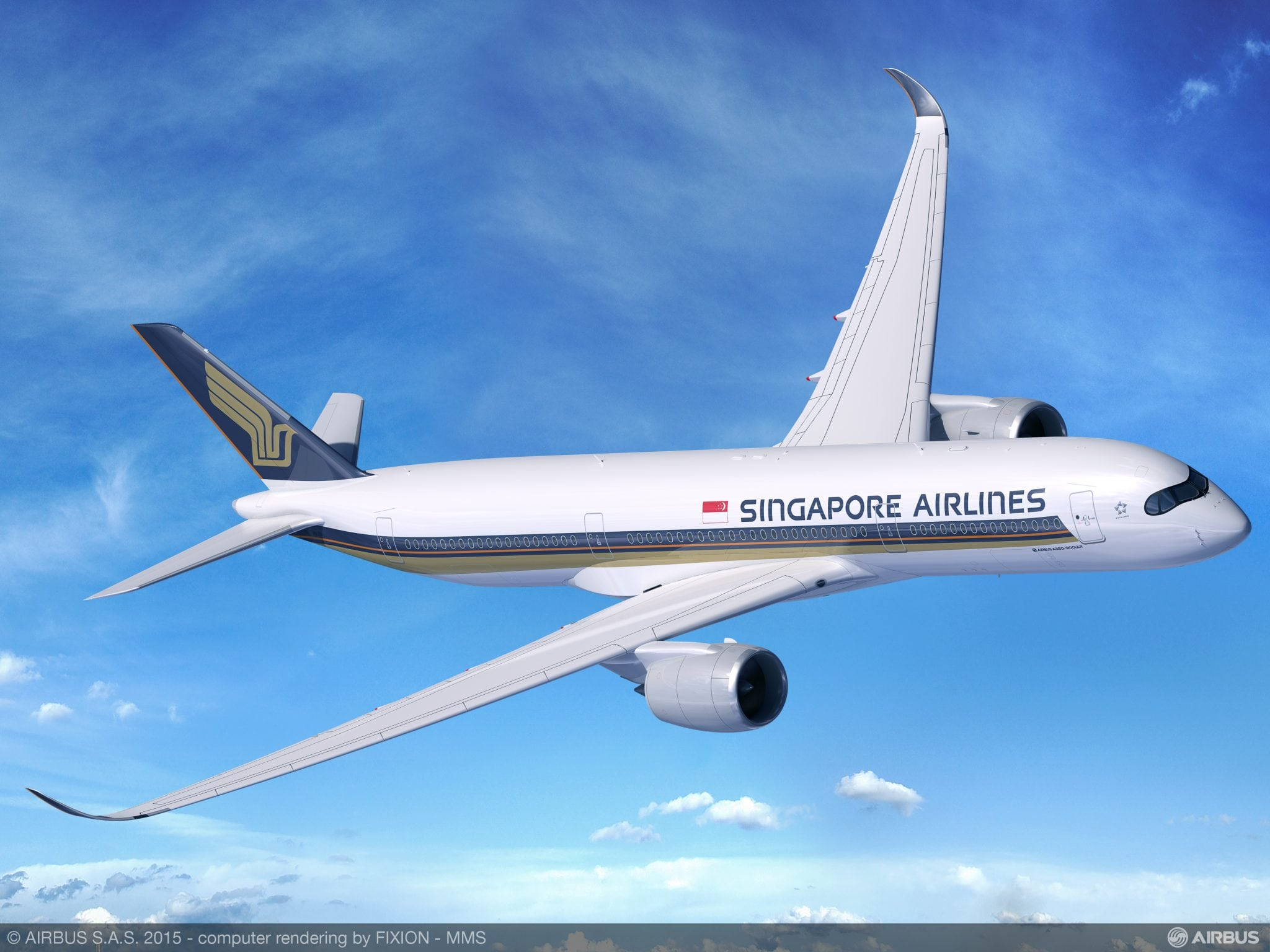 Airbus new A350-900 ultra long range aircraft in Singapore Airlines livery