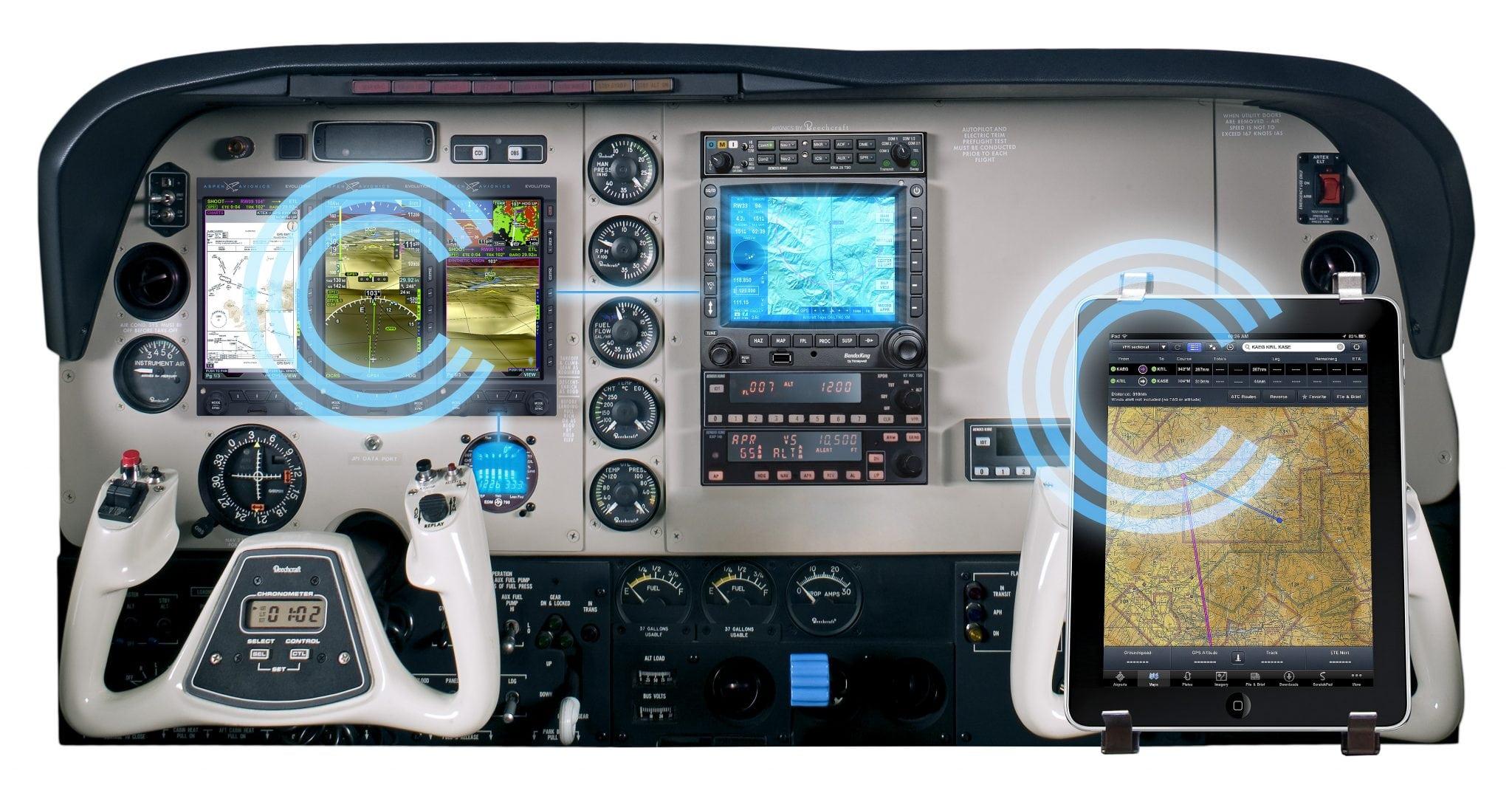 Aspen Avionics connected panel wireless cockpit system concept