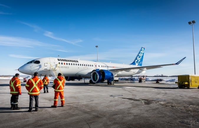 Bombardier CS300 during flight tests earlier this year