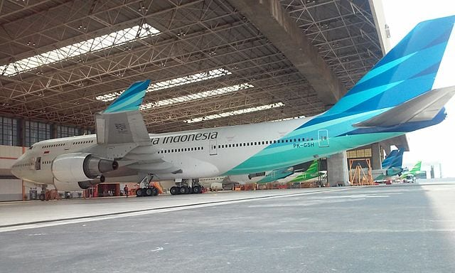 Garuda Indonesia, flag carrier of Indonesia, aircraft in hanger