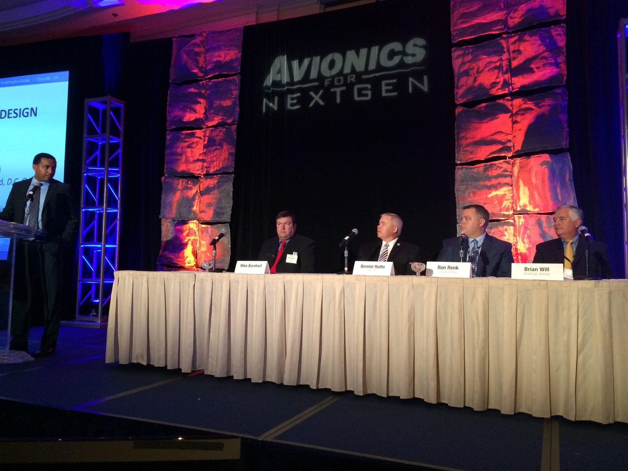 Participants of the Metroplex Airspace Redesign panel at the Avionics for NextGen 2015 conference