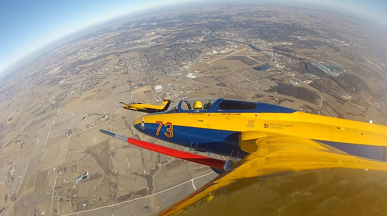 A University of Iowa Operator Performance Laboratory L-29 jet (pictured here) participated in recent flight tests for the Common Range Integrated Instrumentation System at Eglin Air Force Base in Florida