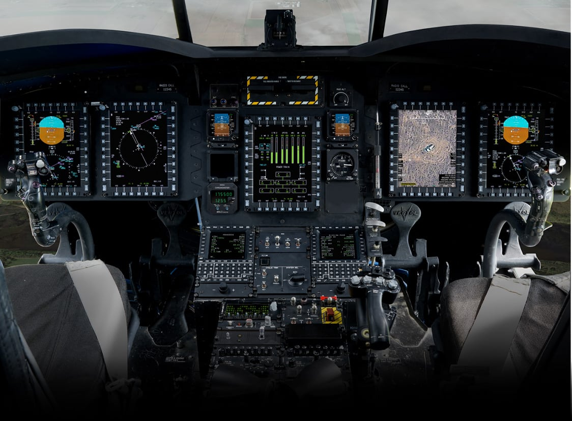 Cockpit featuring streaming video from UAS on the first screen to the right