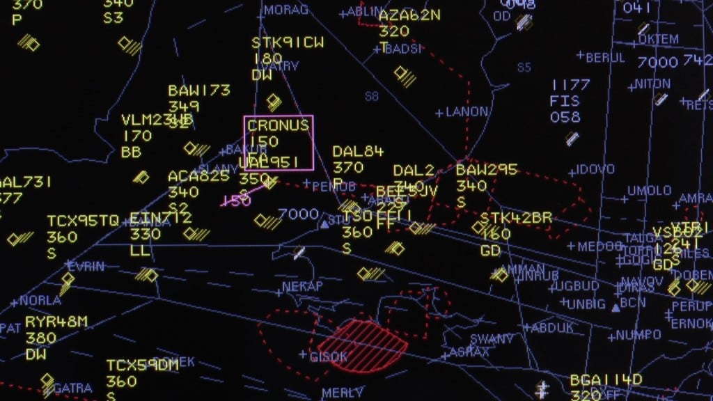 A still from the radar screen clearly showing the UAS – CRONUS – operating in the same airspace as conventional aircraft