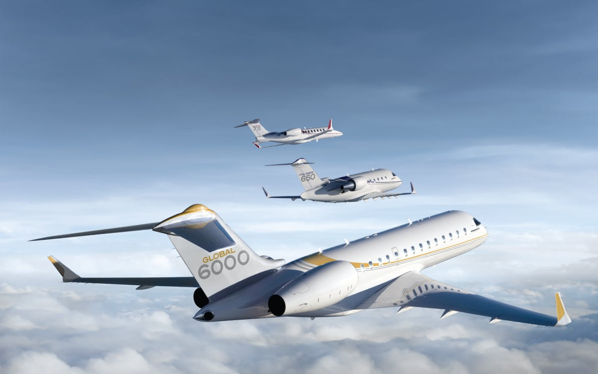 Bombardier Global 6000, Challenger 650 and Learjet 75 aircraft