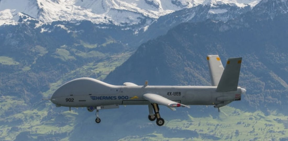The Elbit Systems Hermes 900 flying over Switzerland during the Swiss evaluation of the UAS