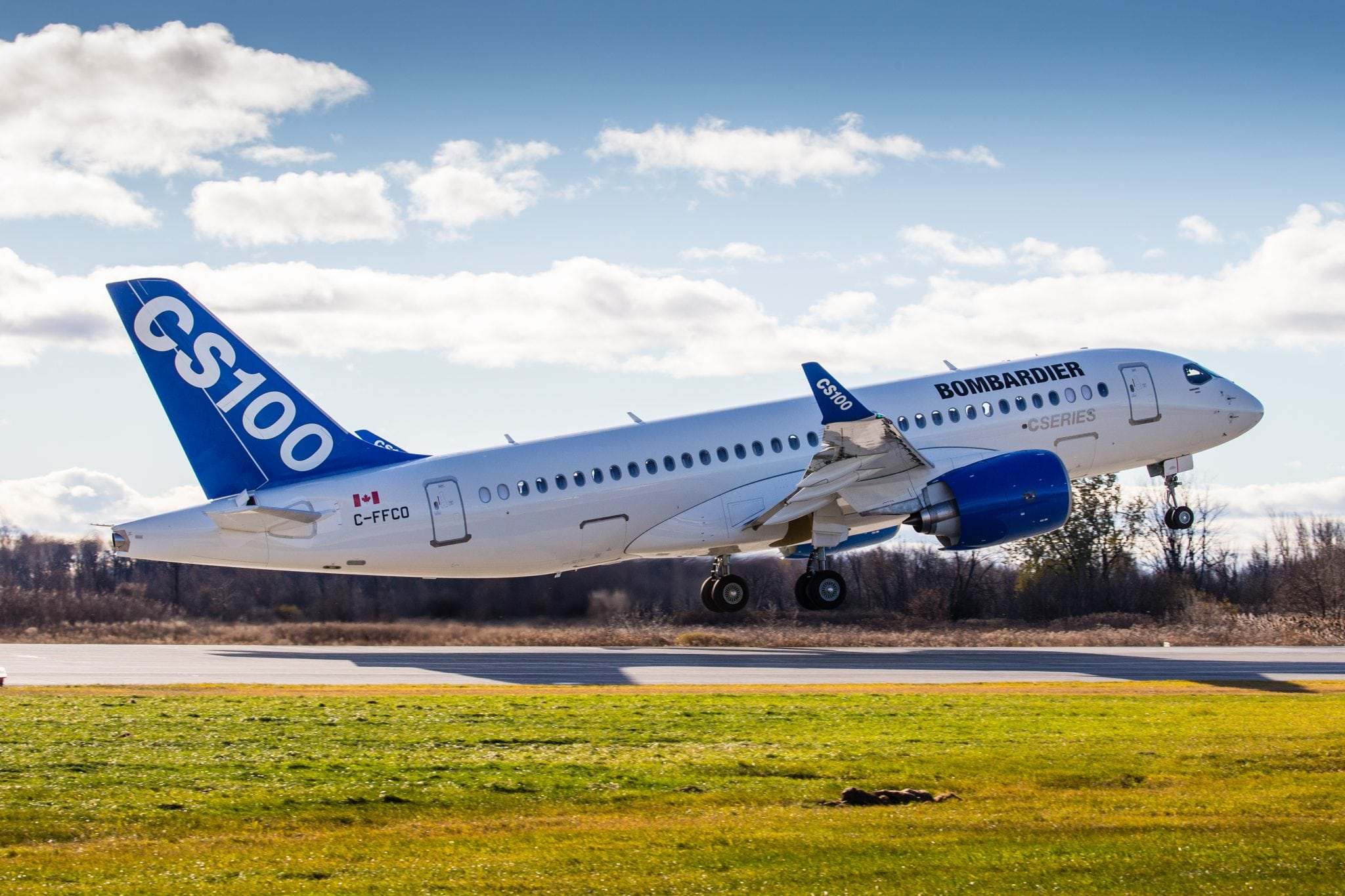 Bombardiers newly certified CS100 aircraft