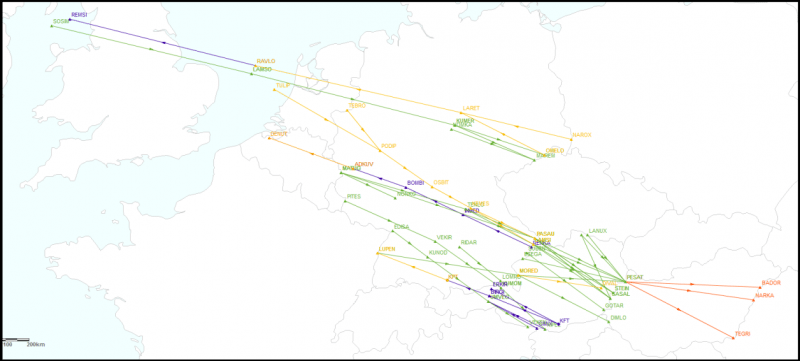 The map displays in orange - existing DCT connections, in blue - Westbound - EVEN parity (NEW and AMD - extended time availability DCTs), in green - Eastbound - ODD parity (NEW and AMD - extended time availability DCTs), in red - NEW possible connections in FRA Hungary