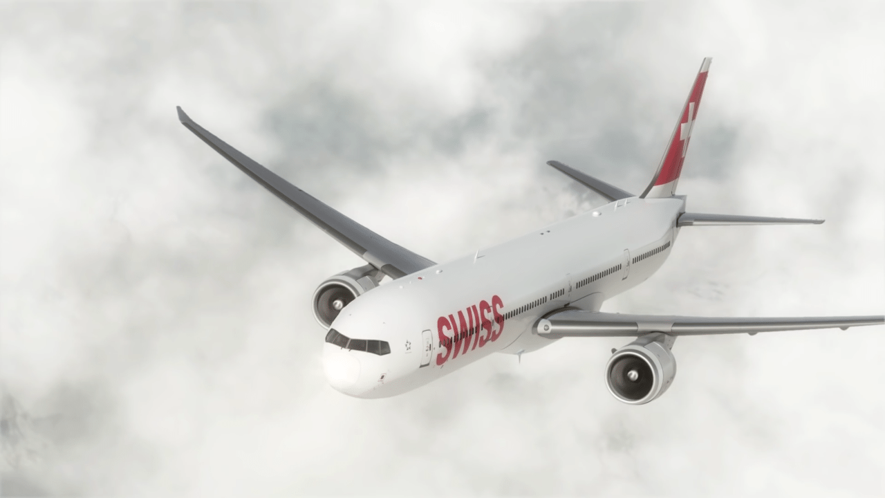 SWISS 777-300ER long-haul aircraft, rendering