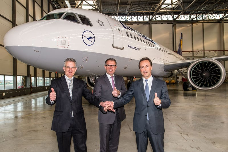 The Lufthansa Group, Airbus' largest airline customer and operator, marked a major step in aviation history by taking delivery of the first A320neo on 20 January 2016. Left to right: Robert Leduc, Pratt & Whitney President; Carsten Spohr, Chairman of the Executive Board and CEO of Deutsche Lufthansa AG; and Fabrice Brégier, Airbus President and CEO