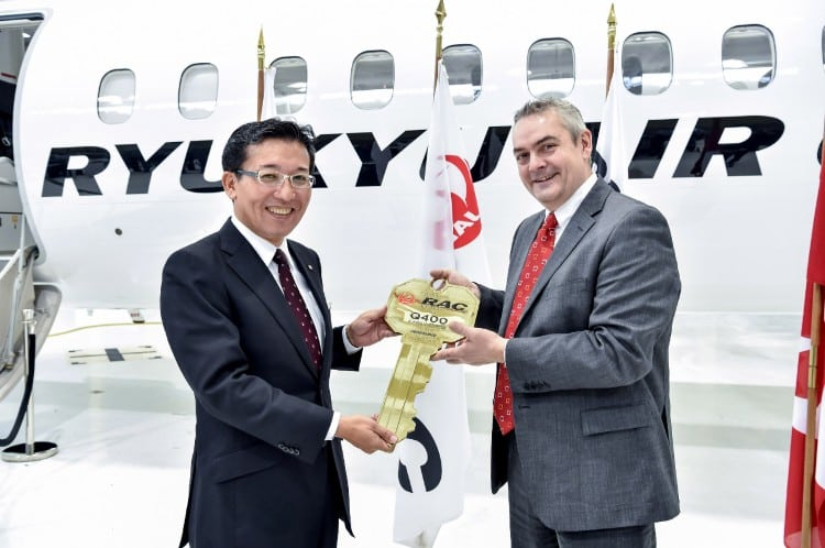 Takashi Irei, President, Ryukyu Air Commuter and Hugues Lessard, VPGM, Operations, Bombardier Commercial Aircraft