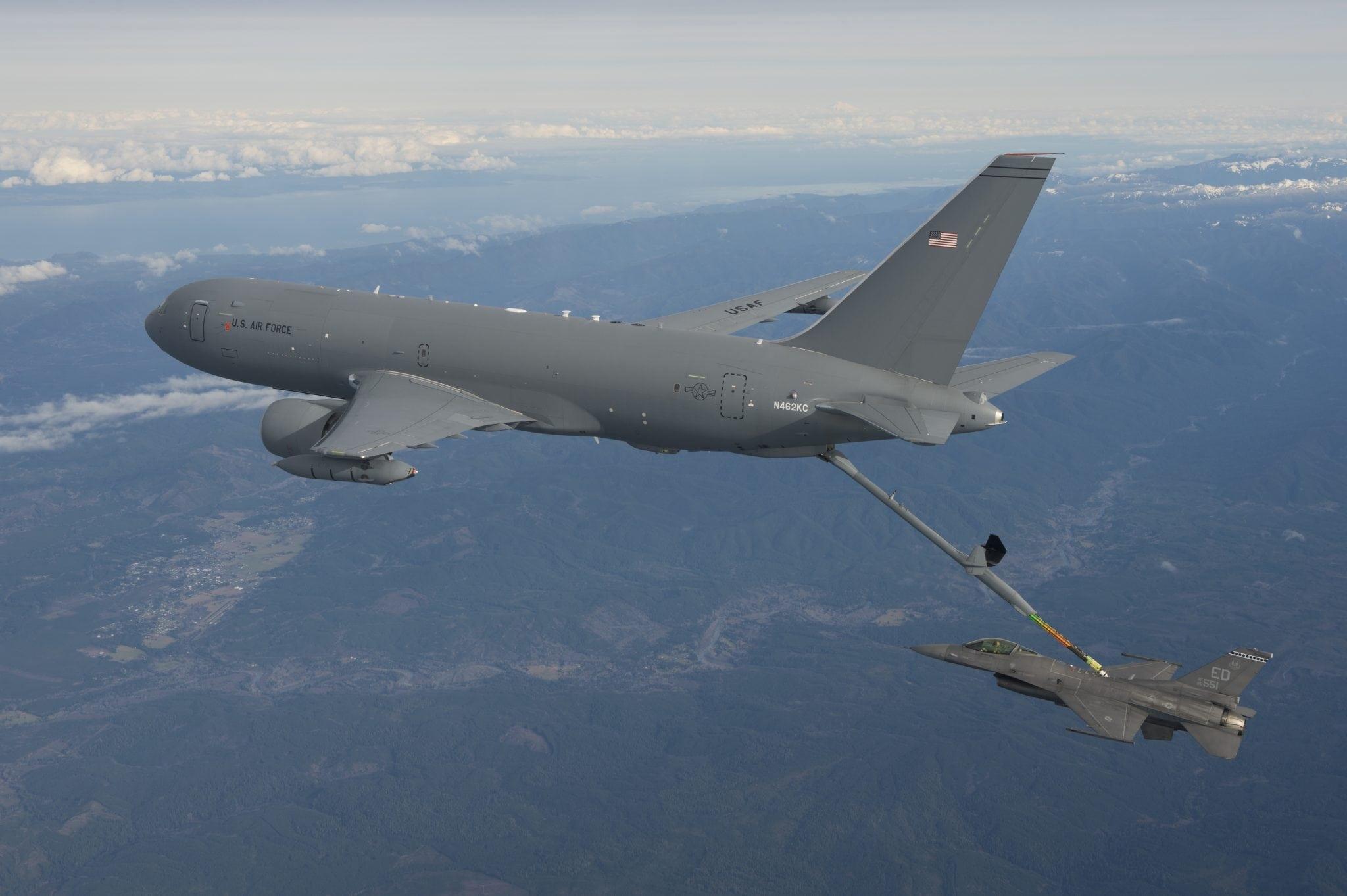 Boeing's KC-46A refuels an F-16 in flight