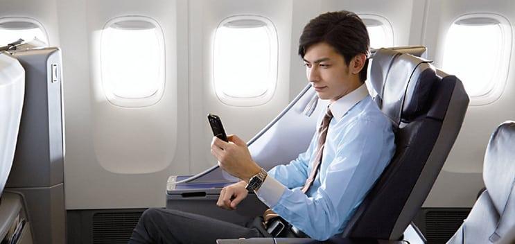 ANA Passenger accessing Internet in flight