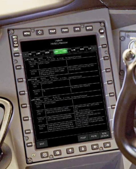 Electronic logbook in cockpit