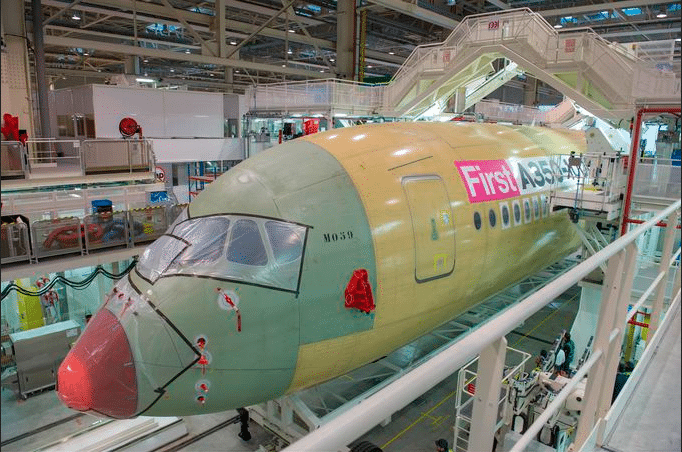 Airbus started final assembly of the first A350-1000 on schedule at the A350 XWB final assembly line in Toulouse, France, beginning in February 2016