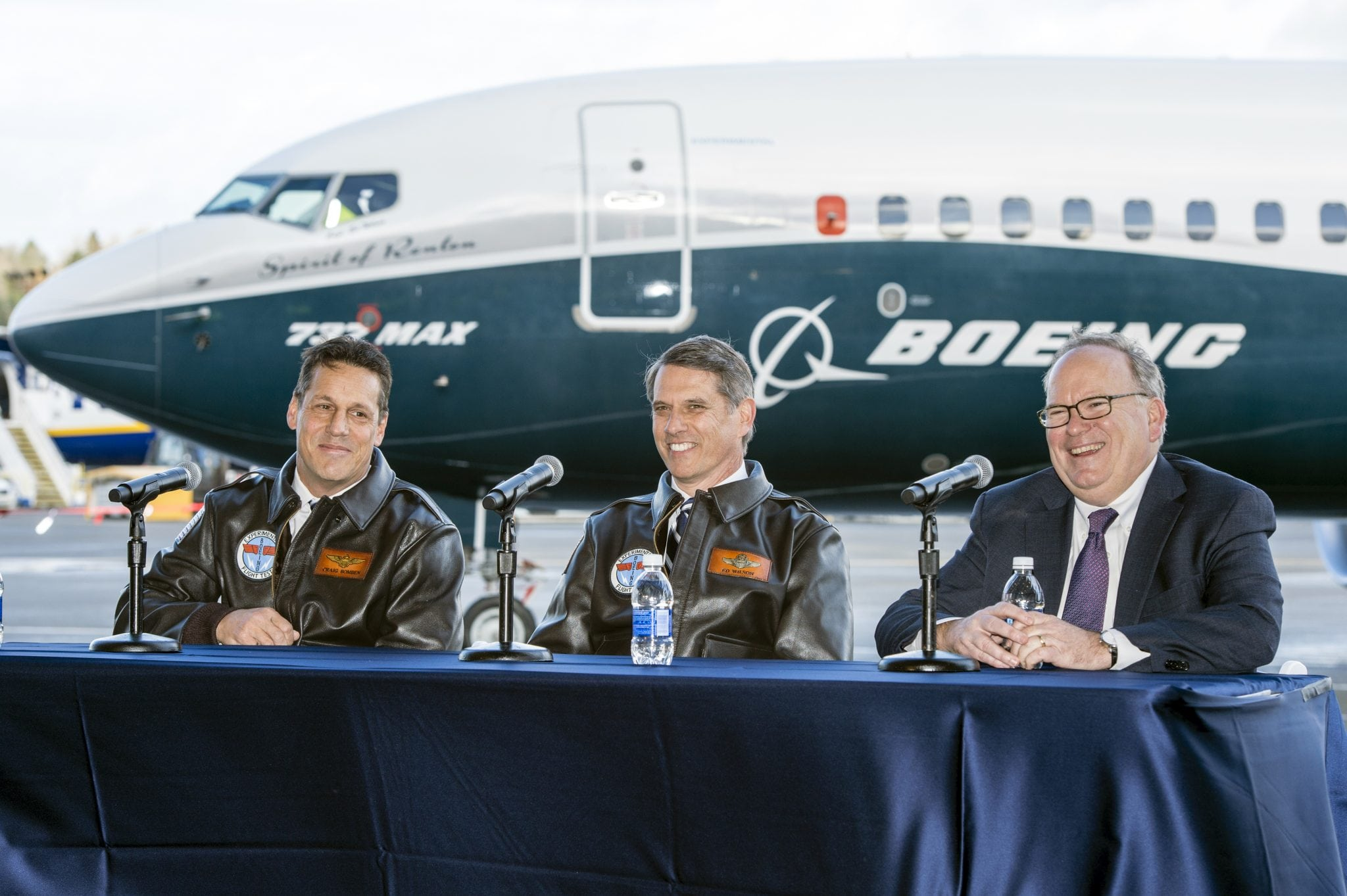 Following the successful first flight of the 737 MAX, (L-R) Boeing Chief Test Pilot and Vice President of Flight Operations Craig Bomben, 737 MAX Chief Pilot Ed Wilson and Keith Leverkuhn, vice president and general manager, 737 MAX program briefed news media