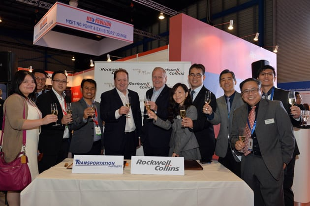 Representatives from Rockwell Collins and Transportation Partners held a signing ceremony at the Singapore Airshow 2016 to celebrate the award