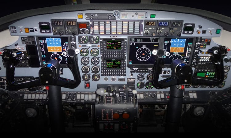 Cockpit of the Universal Avionics equipped Fairchild C-26 Metroliner aircraft