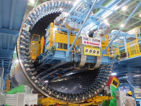 Boeing partner Kawasaki Heavy Industries began installing the circular frames into the midforward section of the 787-10 fuselage on March 14